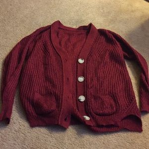Comfy Chic Red Cardigan